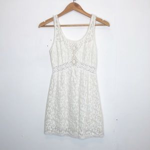 Free People white crochet mini dress